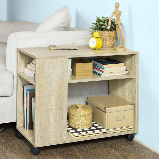 Mueble de madera con ruedas