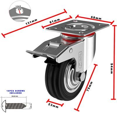 Medidas de las ruedas GBL 75 mm